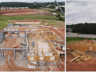 Photos of Fairview fire station 6 and police precinct build progress in June 2021. Photos show framed buildings with garage bay for fire apparatus. (J.R. Bowman Construction Co. photos)