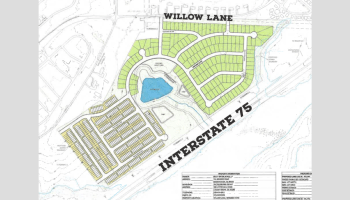 Photo shows the concept site plan for a proposed residential development off Willow Lane in McDonough. The project proposes single-family homes and townhomes on 102 acres. The zoning advisory board will consider the request during their July calendar. (Moore Bass Consulting photo)