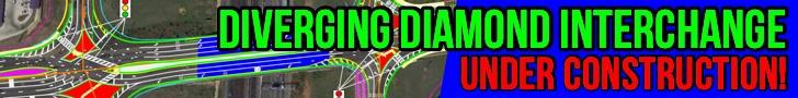 "Photo of diverging diamond interchange concept layout with text ""Diverging Diamond Interchange under construction!"" (special photo)"