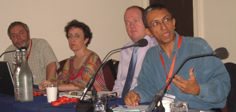 L to R: Paul Sutherland, space correspondent of The Sun, UK; Christina Scott, radio and web journalist, South Africa; David Derbyshire, Environment editor, The Daily Mail, UK; Nalaka Gunawardene, Director/CEO, TVE Asia Pacific