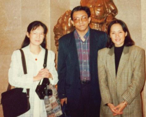 L to R Dr Li Hao, Nalaka Gunawardene & Sheri Liao, Beijing Oct 1996