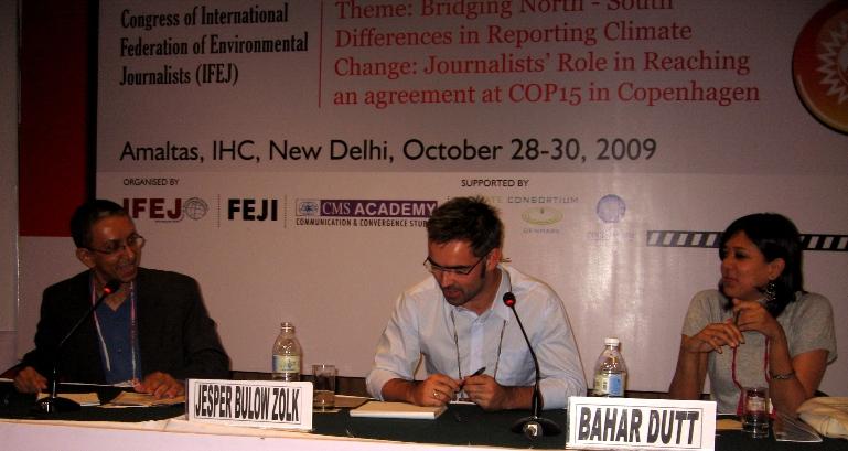 L to R - Nalaka Gunawardene, Jesper Zolk and Bahar Dutt