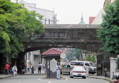 The gates of Intramuros, the city of Manila that's surrounded by thick high brick walls built by the Spaniards.