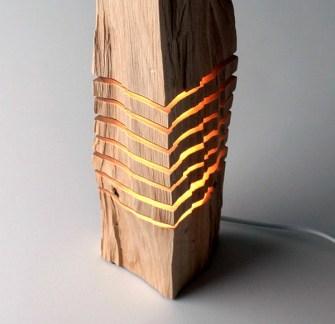Split Grain, les lampes sculptures par Paul Foeckler