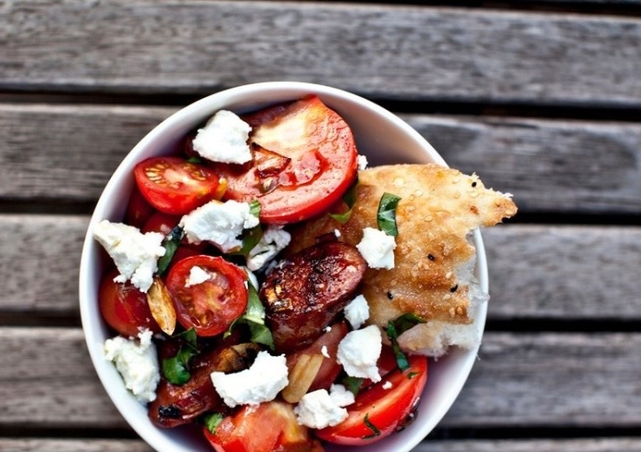 salade de tomates rôties et chorizo