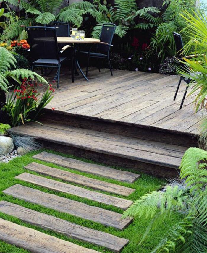 Jardin En Bois Sol Exterieur En Planchers En Bois Parquet D