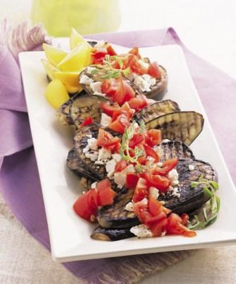 Aubergines grillées et tomate ricotta