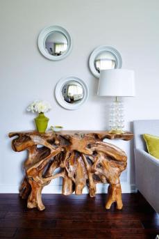 miroir-design-trois-miroirs-ronds-et-table-originale