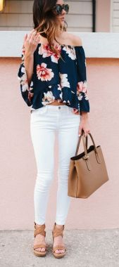 Floral Off The Shoulder Top + White Denim