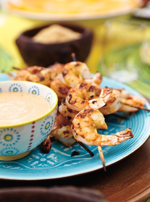 Crevette grillées et sauce aux noix de cajou