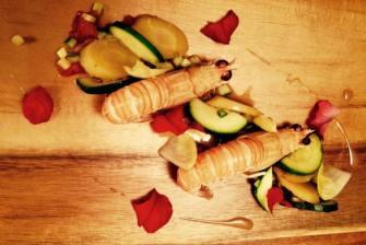 Langoustines cuites en court bouillon