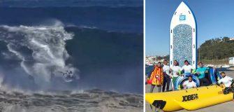 Le Big Sup d'Anonym surf la vague monstrueuse de Nazaré
