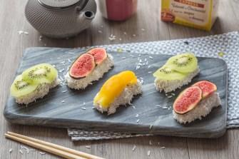 Les sushis sucrés au tapioca et coco râpé