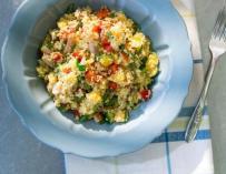 Salade de semoule, poulet et mangue