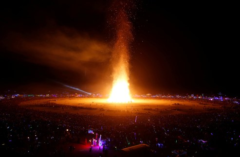 The Man is engulfed in flames as approximately 70,000 people from all over the world gathered for the annual Burning Man arts and music festival in the Black Rock Desert of Nevada