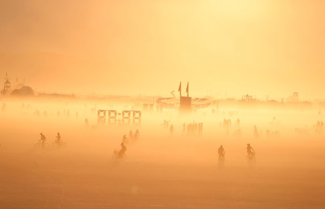 The sun sets on over the playa as approximately 70,000 people from all over the world gathered for the annual Burning Man arts and music festival in the Black Rock Desert of Nevada