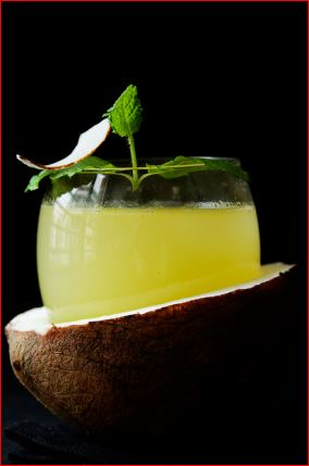 cocktail eau de coco, citron ananas rhum