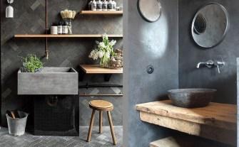 Mariage du bois et du béton pour une salle de bain unique !