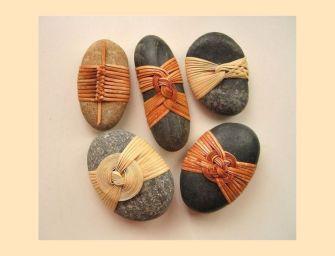 L'art japonnais : les galets habillés de vannerie