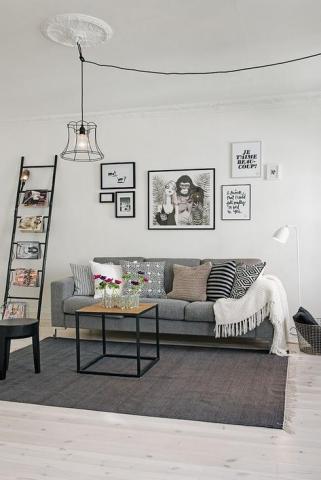 Echelle-decorative-dans-decor-scandinave