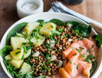 Salade aux saumon, lentilles, pommes de terre et épinard