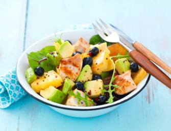 Salade de poulet, avocat et ananas grillé
