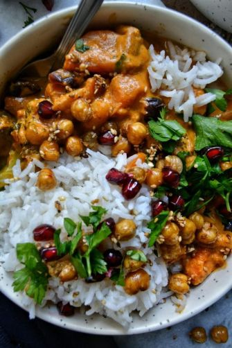 Curry Thaï Patates Douces, Pois Chiches Croquants