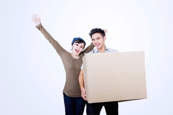 couple with big box