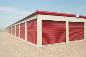 red storage units