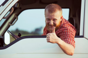 Rental truck driver giving thumbs up