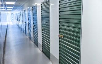 self storage with green doors