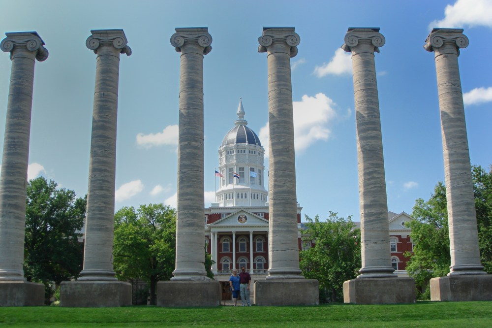 The Columns are all that's left of an Admin building that burnt in 1882, are set in the middle of Francis Quadrangle, AKA the Quad.