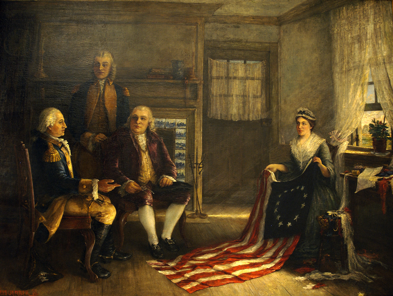 Charles Weisgerber's 1893 painting of The Birth of Our Nation's Flag, helped make Betsy Ross the most famous woman in American history. Since no images of Ross existed, Weisgerber created her face from photographs of her daughters and other female relatives.