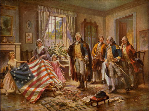 The Birth of Old Glory, by Percy Moran, has Betsy Ross showing her flag to George Washington and three other gentlemen.