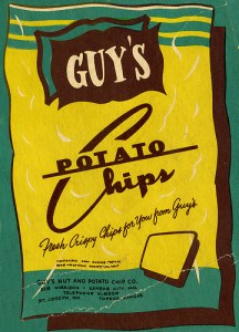 This isn't the right illustration for the Green Onion chips ... but this is the iconic Guy's bag from the 60s.