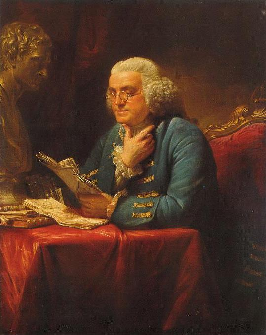 """Either write something worth reading or do something worth writing.""- Benjamin Franklin, painting by David Martin, 1767"
