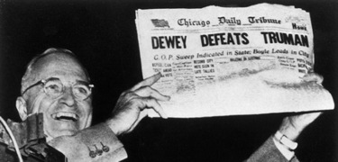 Truman was so widely expected to lose the 1948 election that the Chicago Tribune ran this incorrect headline.