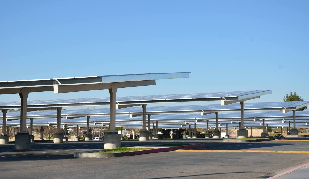 Valencia High School's solar panels also provide shade to their parking lot.