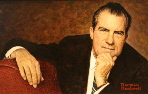 Artist Norman Rockwell admitted that he had intentionally flattered Nixon in this portrait. Nixon's appearance was troublesomely elusive, Rockwell noted, and if he was going to err in his portrayal, he wanted it to be in a direction that would please Nixon. National Portrait Gallery