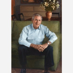 The White House selected Robert Anderson, a Connecticut portraitist and a Yale classmate of the President, to create this painting for the National Portrait Gallery.