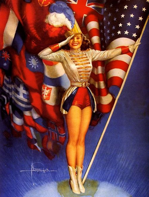 "This pinup is called ""A Winning Combination,"" by Rolf Armstrong. 1945."