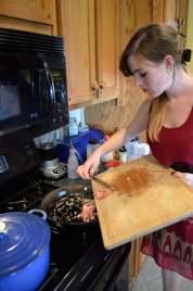 Saute the pancetta.