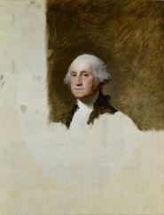 The  Athenaeum Portrait was left unfinished by Gilbert Stuart, but it is the image used on the dollar bill.