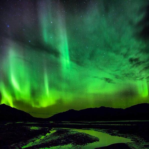 The Northern Lights, or aurora borealis, put on a spectacular show over the Park in September 2013. Tweeted by the US Department of the Interior, 9/12/13.