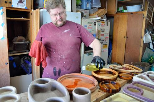 Walnut oil was used to finish all of these bowls. And, oh my, does the color pop on this one!