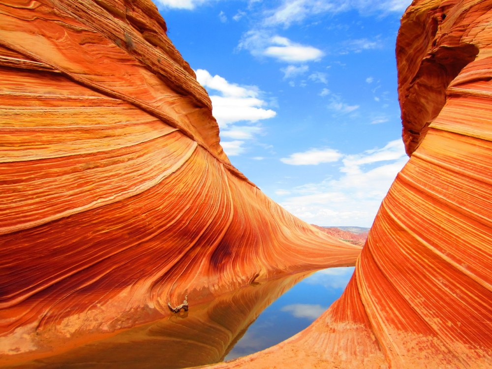 A stunning view of the Wave in the Paria Canyon - Vermilion Cliffs Wilderness - uncropped and unenhanced.  Photo: Adam Marland. Posted on Tumblr by the US Department of the Interior, 1/3/14.