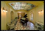 Piano and gallery in assembly room. Hot Springs National Park, Arkansas, USA.