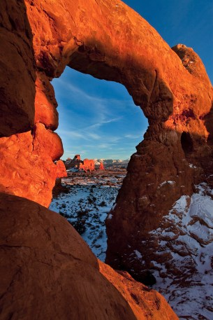 La Sals Framed by Turret Arch. NPS Photo by Jacob W. Frank. From the Park website.