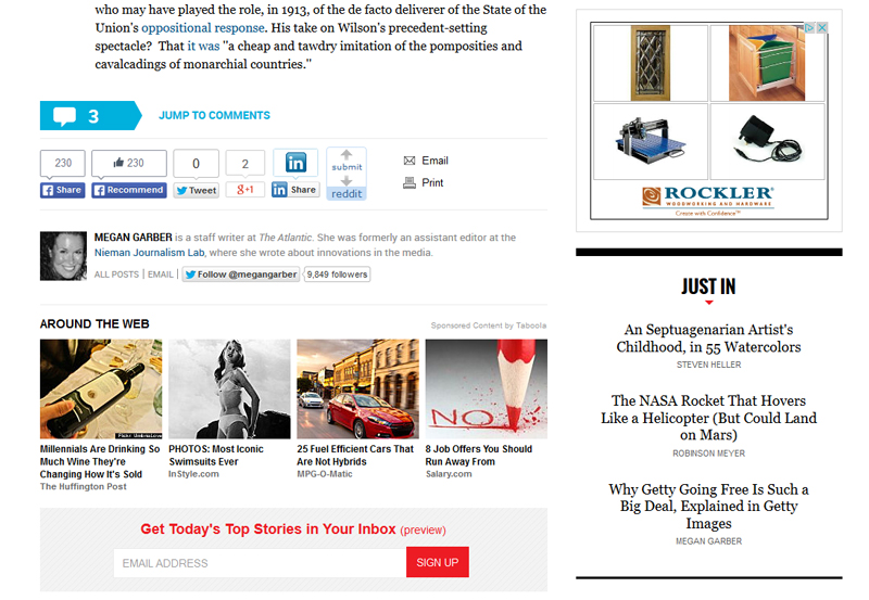 I was reading about the inauguration of President Wilson in The Atlantic ... and these are the ads that accompanied that historical article on my computer.