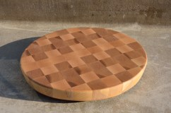"# 60 Cutting Board, $60. Hard Maple, 12"" diameter."